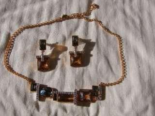 SIGNED SWAN BEZEL SWAROVSKI CRYSTAL OPEN BACK NECKLACE & EARRINGS