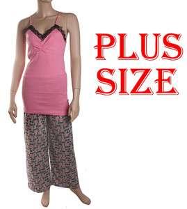 Womens 100% cotton,2pc long pajama set,lace ribbed sleeveless tank top