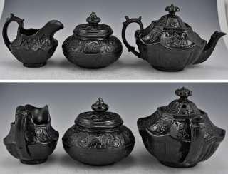 3pc. Antique Jackfield Pottery Tea Set English 1700s