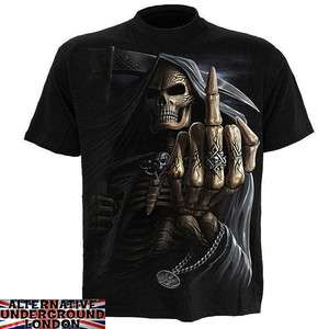 DIRECT BONE FINGER T SHIRT GOTHIC REAPER SKELETON TATTOO TRIBAL SKULL