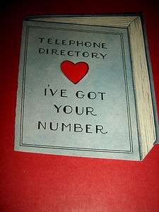 TELEPHONE DIRECTORY IVE GOT YOUR NUMBER VINTAGE VALENTINES DAY CARD