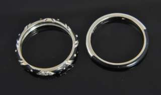 18K White Gold Diamond Enamel Stack Band Ring Set 8.25