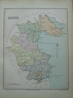 Ireland Color Maps County Wexford & Louth 1884 Print