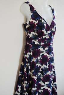 New Yessica C&A Floral Purple/Blue Summer Dress 8 12 14