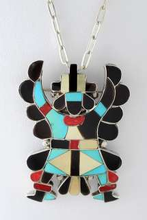 ZUNI KNIFEWING STERLING TURQUOISE ONYX NECKLACE
