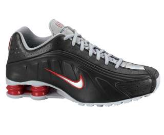CLASSIC MENS NIKE SHOX R4 RUNNING SHOES BLACK / METALLIC SILVER / RED