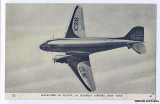 UNITED AIRLINES Mainliner In Flight LAGUARDIA FIELD NY