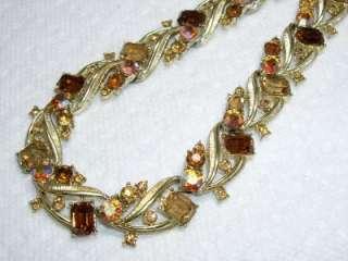 Vintage CORO Topaz Aurora Borealis Rhinestone Necklace