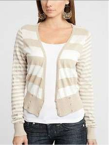 NEW GUESS STRIPED KIM CARDIGAN CASHMERE SWEATER TOP