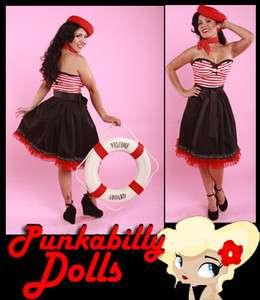 Sexy Pinup Punk Rockabilly Strapless Striped Doll Dress