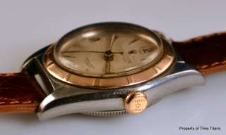 ROLEX BUBBLEBACK REF. 5010 PINK GOLD ENGINE TURNED BEZEL STAINLESS