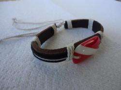 Leather Scuba Diving Flag Bracelet Surfer Style Scuba Dive Wristband