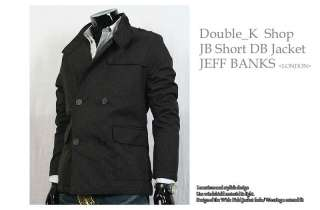 Mens Slim Lining Double Breasted Trench PEA Coat Jacket Dark Grey