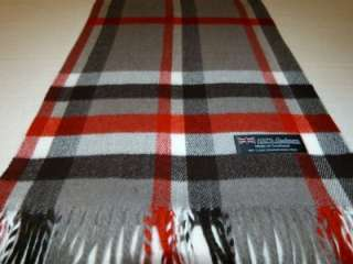 Scarf Gray Red White Black Scotland Wool Check Plaid Scarf K19