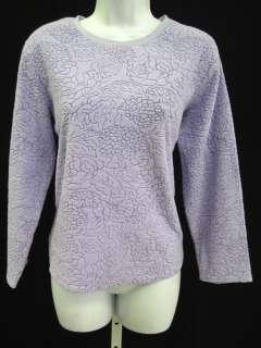 OSCAR DE LA RENTA Purple Fleece Floral Shirt Top Sz S