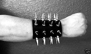 SPIKED LEATHER GAUNTLET WRISTBAND BLACK METAL ABSU