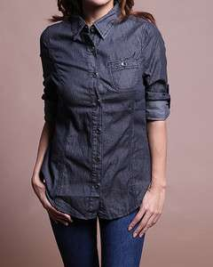 Chambray Denim JEAN SHIRTS BLOUSE w.Button Roll Up Long Sleeve TOP