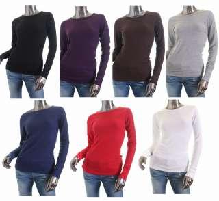 New Plain Basic Round Neck Thermal Long Sleeve T Shirt S,M,L