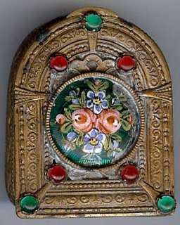 ANTIQUE FRENCH ENAMEL FLOWERS JEWELED GLASS PILL BOX |