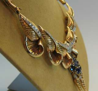 50s Retro Diamond Sapphire Pink & Yellow Gold Necklace