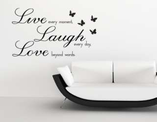 WALL ART STICKER DECAL LIVE LOVE LAUGH WITH BUTTERFLIES
