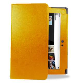 Orange Executive Wallet Leather Case For Sony S1 Tablet + Screen