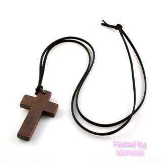 Brown NEW Wood Cross Pendants Casual Leather Necklace