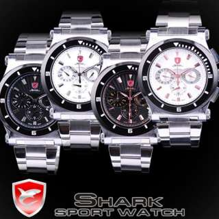 Shark Stainless Steel Men Sport Round Dial 6 Hand Watch