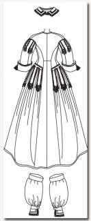 S2887 Patron Couture Costume Robe 1860s T 44 52 SIM