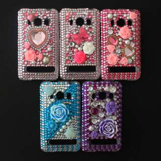 3D Diamond Crystal Bling Hard Back & Front Cover Case Skin For HTC EVO