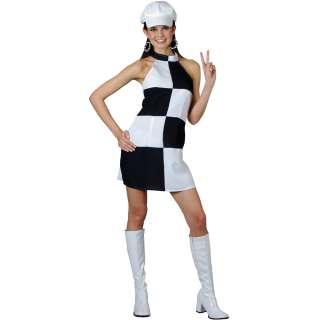 New 1960s Black & White Mini Dress Fancy Dress Costume