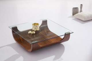 ICEBERG GLASS TOPPED BENT WOOD SHINY BLACK COFFEE TABLE