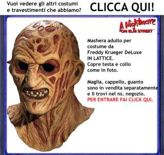 Maschera Costume Freddy Krueger Uomo Adulto Carnevale