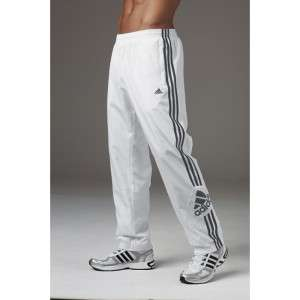 Mens Adidas 3 Stripe Woven Track Pants White Black Sports Gym Casual