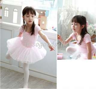 Girl Party Leotard Ballet Tutu Costume Dance Skirt Dress 2 7Y Pink
