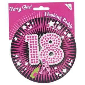 BIG PINK FLASHING PARTY BADGE 18 18TH BIRTHDAY GIRL