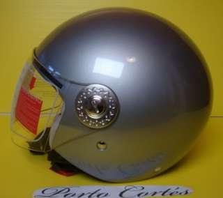 casco moto jet demi jet origine mod ecco argento taglia L (S M L XL