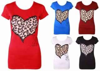 LADIES ANIMAL LEOPARD PRINT HEART T SHIRT WOMENS SHORT SLEEVE STRETCH