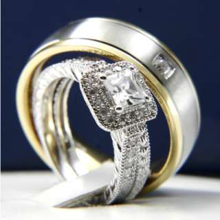 3pcs HIS HERS Engagement Wedding Band Ring Set Mens and Womens New