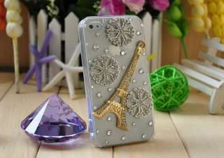 Luxury Designer Bling Eifel Tower & Snow Flakes Crystal Case Cover f