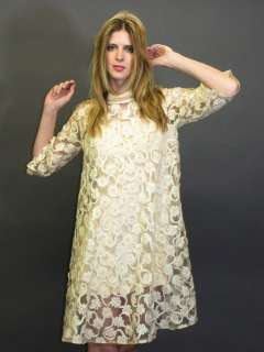 VTG 60S MOD SPACE AGE TWIGGY SHEER LACE DRAPED TENT WEDDING MINI DRESS