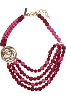 Oscar de la Renta 24 karat gold plated beaded multi strand necklace