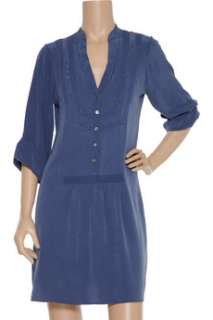 Tibi Lace detailed washed silk tunic dress