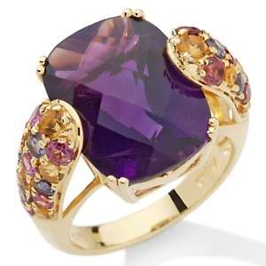 for Rarities 8.12ct Amethyst and Gemstone Vermeil Cushion Cut Ring