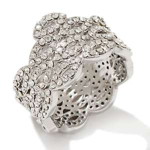 Spotlight Marquise Cluster Silvertone Crystal Band Ring