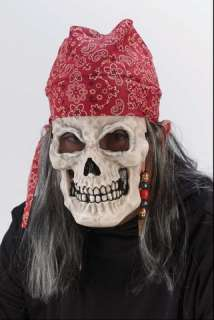 Vinyl skull mask with attached hair and a bandanna OR a pirate hat