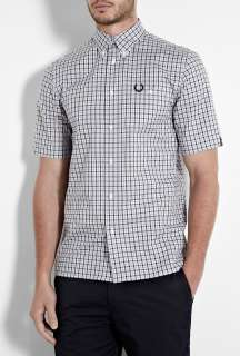 Fred Perry Laurel Wreath  Blue Check Notch Pocket Short Sleeve Shirt