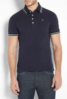 Vivienne Westwood  Navy High Collar Orb Polo Shirt by Vivienne