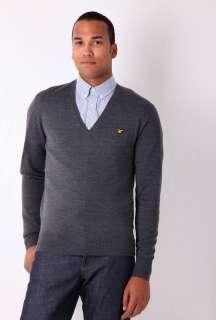 Dark Grey Merino Wool V Neck Knit by Lyle & Scott   Grey   Buy