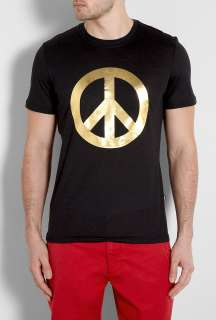 Moschino  Charcoal Gold Peace Sign T Shirt by Moschino